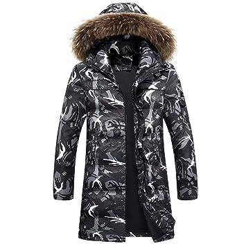 ... y Abrigo Ligero de Invierno para Hombres con Cremallera Chaquetas  largas a Prueba de Viento Collar de Piel fc7cd9ab072c