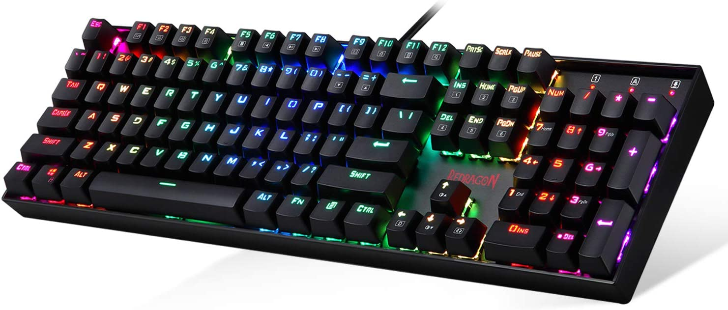 Redragon K551 Mechanical Gaming Keyboard RGB LED Backlit Wired Keyboard with Blue Switches for Windows Gaming PC (104 Keys, Black)