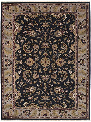 (eCarpet Gallery Large Area Rug for Living Room, Bedroom | Hand-Knotted Wool Rug | Finest Agra Jaipur Bordered Black Rug 8'6