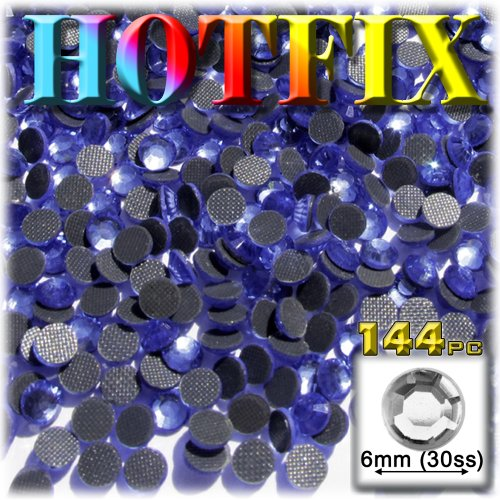 144pc Superior quality glass DMC HOTFIX Rhinestones Round 6mm (30ss) Hotfix rhinestones Royal Blue (Saphire)