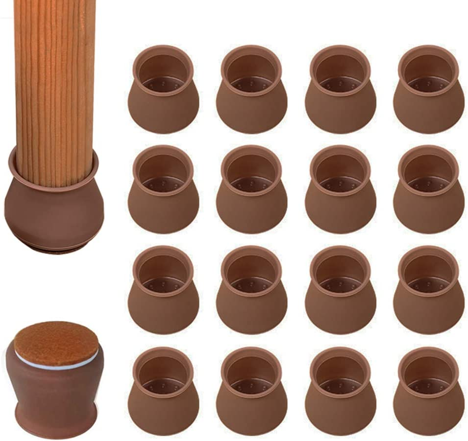 Chair Leg Floor Protectors, 16 PCS Upgraded Silicone Chair Leg Caps with Felt Pads, Elastic Silicone Furniture Protection Cover for 1 1/8 to 1 5/8 Inch Chair/Table Feet (Brown)