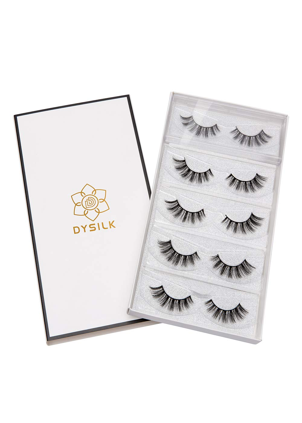 DYSILK 3D Eyelashes Mink Natural Look False Eyelashes Extension Makeup Long Handmade Fake Eyelashes Fluffy Soft Reusable Black 5 Pairs
