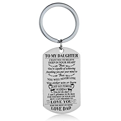 Amazon Daughter Keychain Key Ring Believe Inspirational Gifts