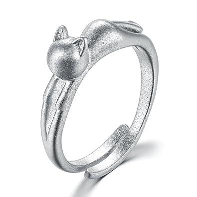 Anillo de gato sencillo para mujer, anillo de plata de ley 925 con diseño de