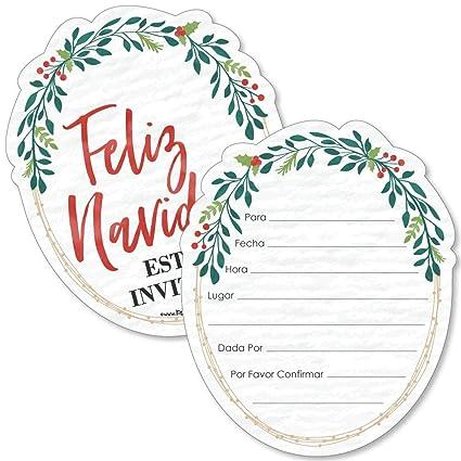 Amazon Com Feliz Navidad Shaped Fill In Invitations Holiday And