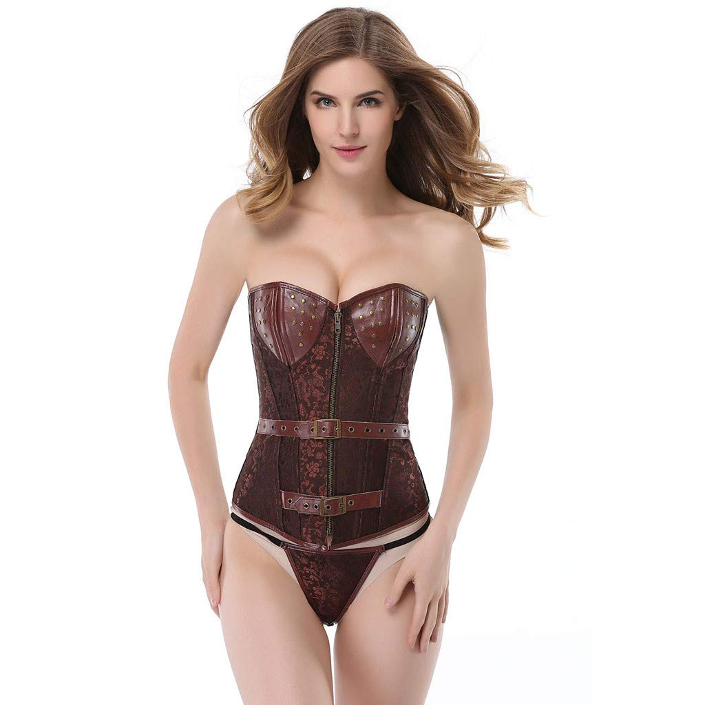 Allywit S-6XL Women's Bustier Corset Sexy Satin Brocade Overbust Waist Cincher Shapewear Top Plus Size Brown