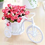 Craft Expertise Artificial Peonies Flowers Pot with Cycle Shape Vase Basket Pot for Living Room Home Décor and Gifts