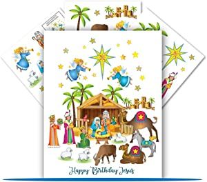 Colonel Pickles Novelties Nativity Clings - 40 Window Cling Nativity Set for Kids – Nativity Scene Christmas Crafts for Kids Decorations