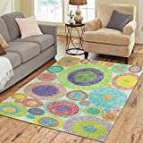 InterestPrint Abstract Bright Colorful Pattern Area Rugs Carpet 7 x 5 Feet, Geometric Circle Modern Carpet Floor Rugs Mat for Children Kids Home Living Dining Room Playroom Decoration For Sale