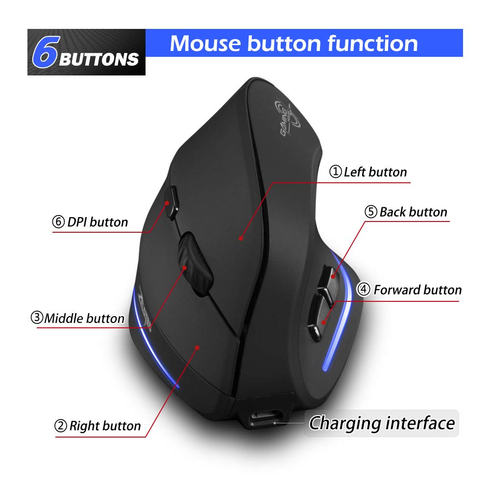 11 Programmable Buttons for PC FPS Games 10000 DPI Adjustable Black USB Vertical Gaming Mouse Wired with Rocker