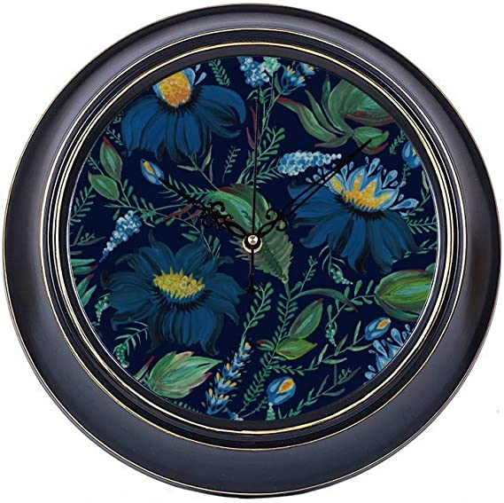 14inch Large Silent Non Ticking Office Clock For Men Blue Creative Art Abstract Leaf Flower Metal Wall Clock Home Decor Quality Quartz Battery Quiet Vintage School Clock For Home Office Amazon Ca Home