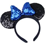 WLFY Mickey Mouse Minnie Mouse Sequin Ears Headbands Butterfly Glitter Hairband (3D black blue)