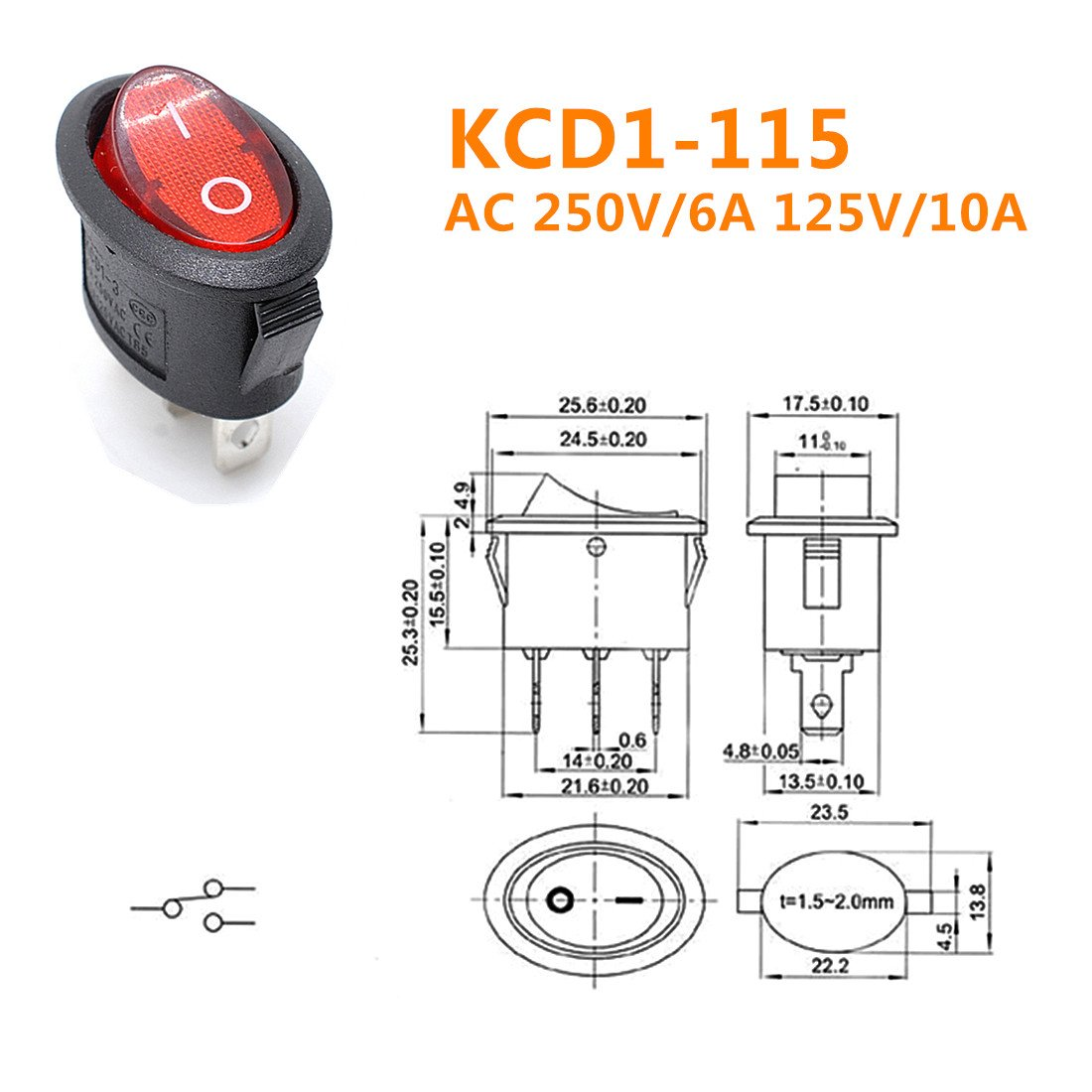 Willwin 15pcs Kcd1 115 Oval Red Lamp 3 Pins Spst Boat For Wiring Toggle Diagrams Switch 5 Rocker Ac 250v 6a 125v 10a Computers Accessories