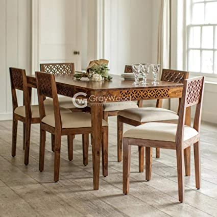 098844da9 RjKart Sheesham Wood Dining Table with Chairs 6 Seater for Dining Room:  Amazon.in: Home & Kitchen
