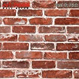 Arthome 31.6 Square Feet Distressed Red Brick Decorative Self-Adhesive Peel and Stick Wallpaper Décor (201-2)
