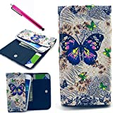 LG G3 Case, Jcmax Butterfly Design Cute High Quality Flip Wallet Leather Case Purse Case With Card Slots and Cash Pouch For LG G3+ One Free Stylus [Butterfly Design]