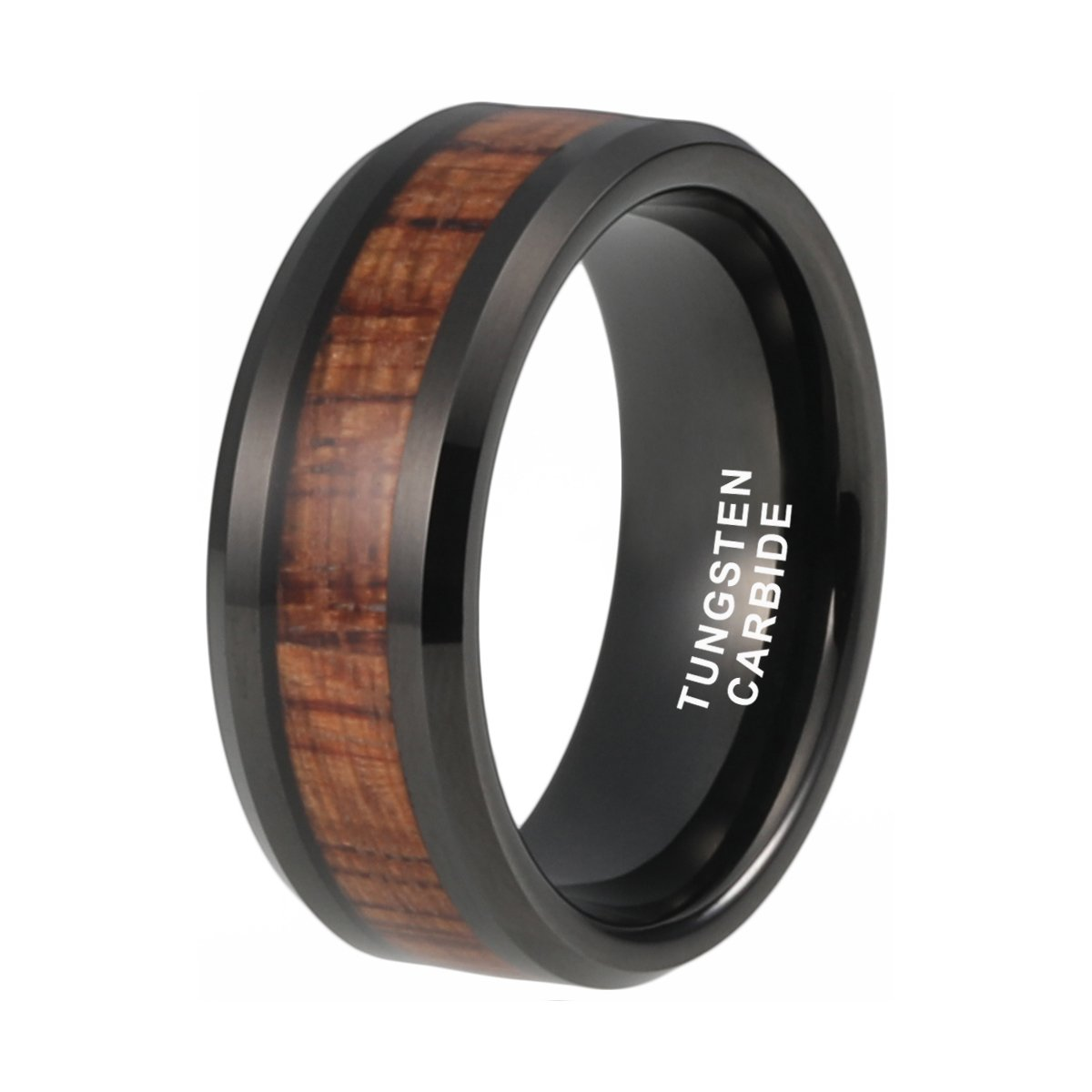 Black Tungsten Carbide Ring Wood Inlay Wedding Band 8mm Polished Shiny Comfort Fit (12)