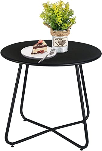 Patio Bistro Side Table Metal Steel Coffee Snack Tea Accent End Table Small Round Indoor Outdoor Blancy Garden Black