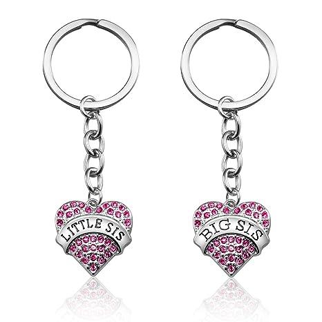 Amazon.com: Juego de 3 llaveros con colgante de corazón rosa ...