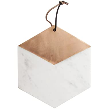 American Atelier Marble and Copper Hexagon Cutting Board/Serving Tray, 11 x 11 inches