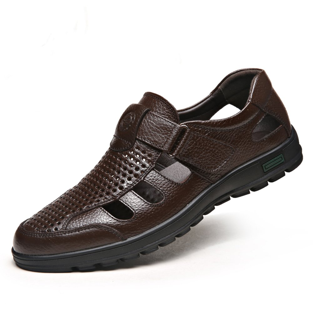 CMM Mens Sandals Brown Leather Breathable Flat Sandals Walking Beach Sandals Size 11