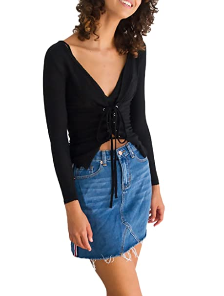 Mujer Camisetas Manga Larga Negras Basicas T Shirt Elegantes Invierno Otoño Cortas Tops Camisas V Cuello