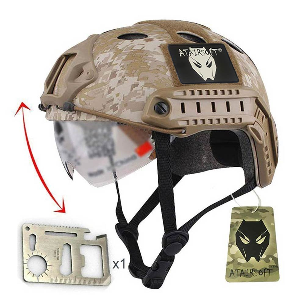 SWAT combate PJ tipo Casco Fast desierto Digital con gafas protectoras para ejército militar táctico SWAT Airsoft Paintball WorldShopping4U
