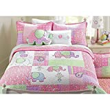 3pc Adorable Purple Green Pink Blue White Queen Quilt Set, Elephant Themed Bedding Colorful Fun Cute Animal Patchwork Girls Kids Flower Floral Paisley Daisy Jungle Pretty, Cotton