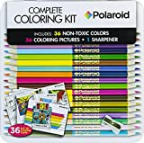 Polaroid Coloring Set 36 Premium Assorted Pre-Sharpened Colored Pencils With a Pencil Sharpener and 36 Coloring Pictures For Adults, Teens and Kids