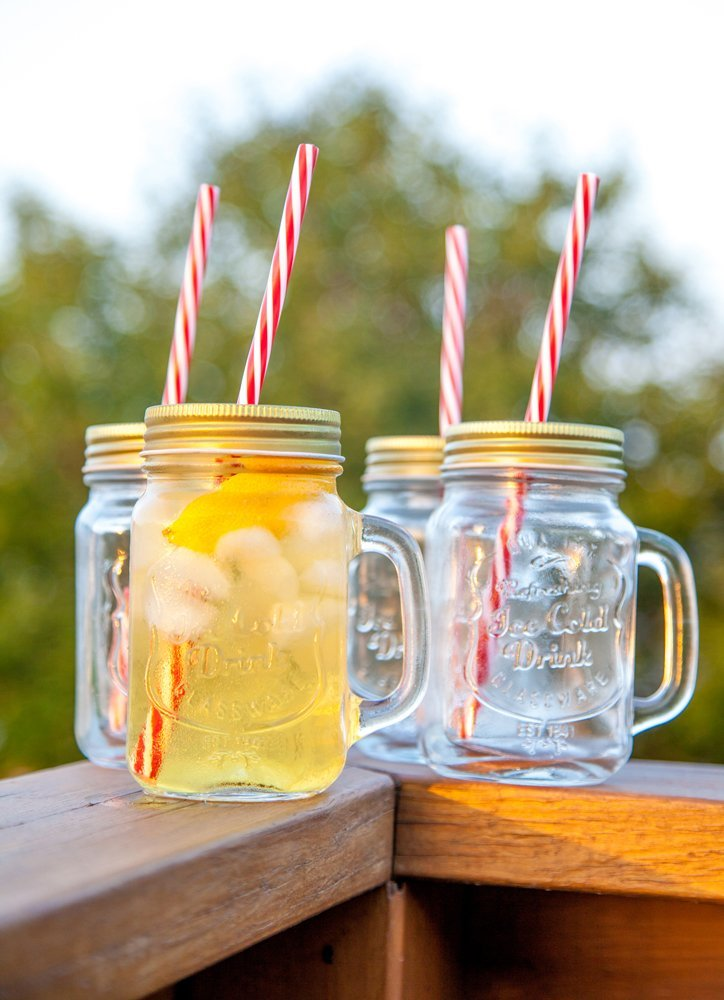Lily's Home Old Fashioned Mason Jar Mugs with Handles, Tin Lids and Matching Reusable Plastic Straws, Great as Old…