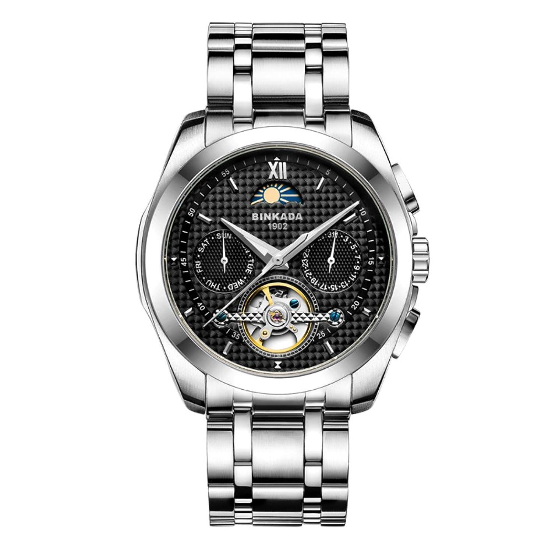 Automatische mechanische Uhren-Mode leuchtende Uhr-Wasserdichte Stahl Herrenuhr-B