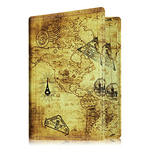 Map Leather Case (Fintie Passport Holder Travel Wallet RFID Blocking PU Leather Case Cover, Map)
