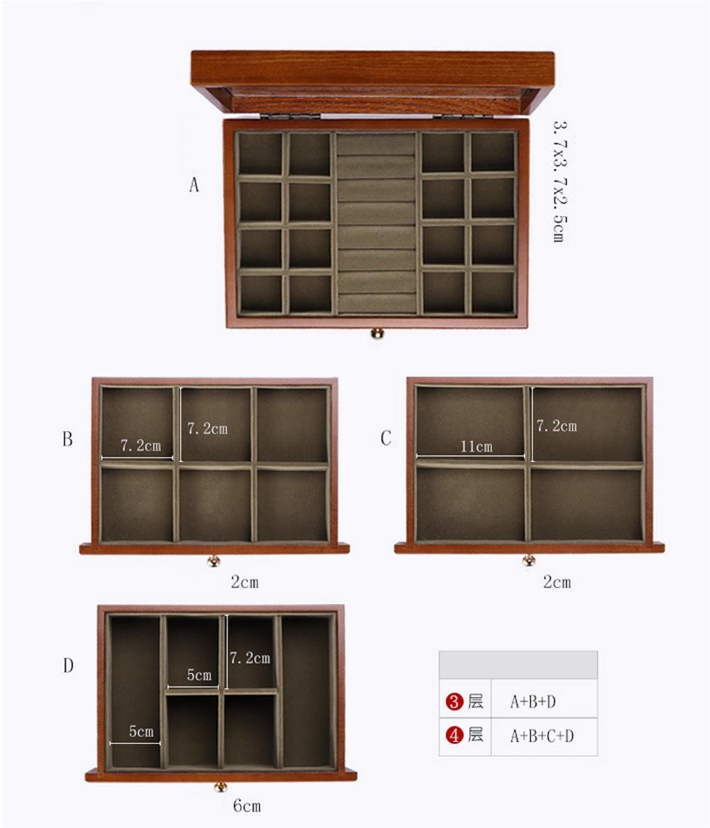 LUCKYYAN Retro fine Emboss Solid Wood Jewelry Box Necklace Storage Box Multifunctional Storage Box for Wedding Birthday Gifts , 2# by LUCKYYAN (Image #2)