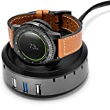 Kartice Compatible Gear S3 Charger,Samsung Gear S3 Wireless Charging Stand,3-Port USB Desktop Charger Dock Charging Station Stand Compatible Samsung Gear S3 Frontier/S3 Classic Gear S2/S2 Classic