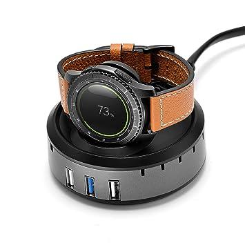 aresh para Samsung Gear S3 Classic/frontera inalámbrico bastidor soporte de carga, cargador USB de 3 puertos estación de carga Dock para Samsung Gear ...