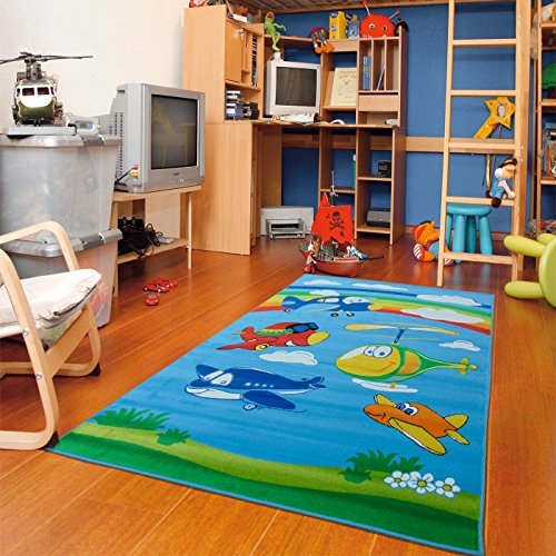 New Kids Area Rugs Jumbo Jet Cartoon Kid Rug Airplane and Helicopter Colorful Vivid Blend Texture, 3x5 Classroom & ()