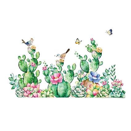 VORCOOL Cactus pájaro Pegatinas de Pared para Sala de Estar ...