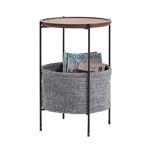 Mesa auxiliar redonda Mesa auxiliar con cesta de almacenamiento de ...