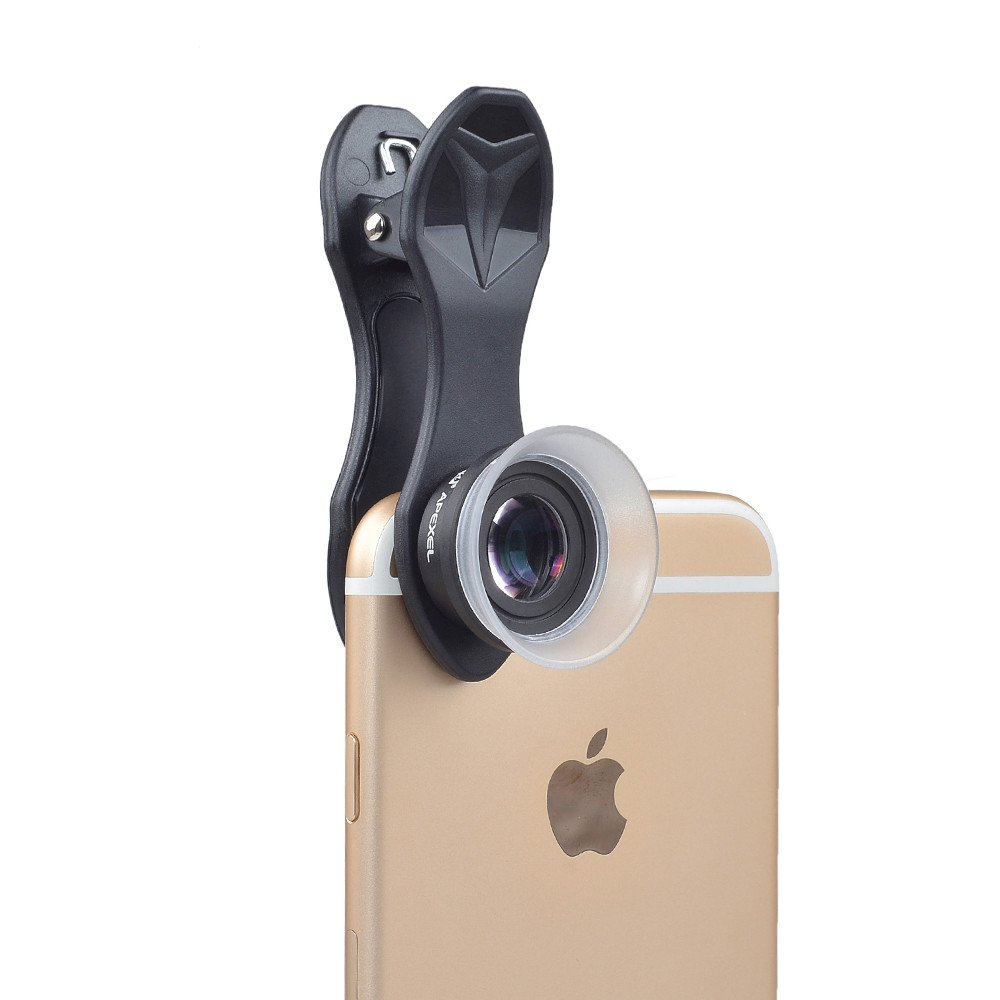 3 in 1 Clip-on Cell Phone Camera Lens Kit, 25x Macro Lens & 0.36x Wide Angle Lens &180° Fisheye Lens for Most Smartphones