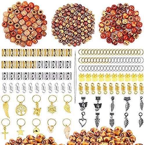 Souarts 320 Pcs Hair Jewelry Rings Decorations Pendants Mixed Dread Lock Dreadlocks Beads Metal Cuffs Hair Decoration