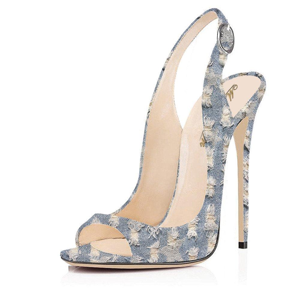 Modemoven Women's Patent Leather Pumps,Peep Toe Heels,Slingback Sandals,Evening Shoes,Cute Stilettos B06X18ZLR9 11 B(M) US|Blue Denim