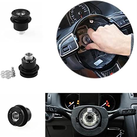 MACHSWON 3//4 Shaft 3-Hole Aluminum Alloy Steering Wheel Quick Release to Disconnect The hub Used for Racing Steering Wheel hub Adapter The Hexagonal Steel Mandrel 360 Degree Rotation Release