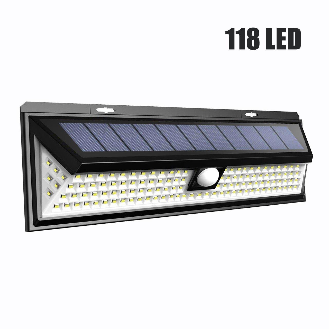 LTPAG Foco Solar LED Exterior, 3 Modos Foco Solar 118 LED Jardin Exterior con Sensor Movimiento IP65 Impermeable Luz Solares LED para Jardín, Terraza, ...