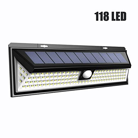 LTPAG Foco Solar LED Exterior, 3 Modos Foco Solar 118 LED Jardin Exterior con Sensor