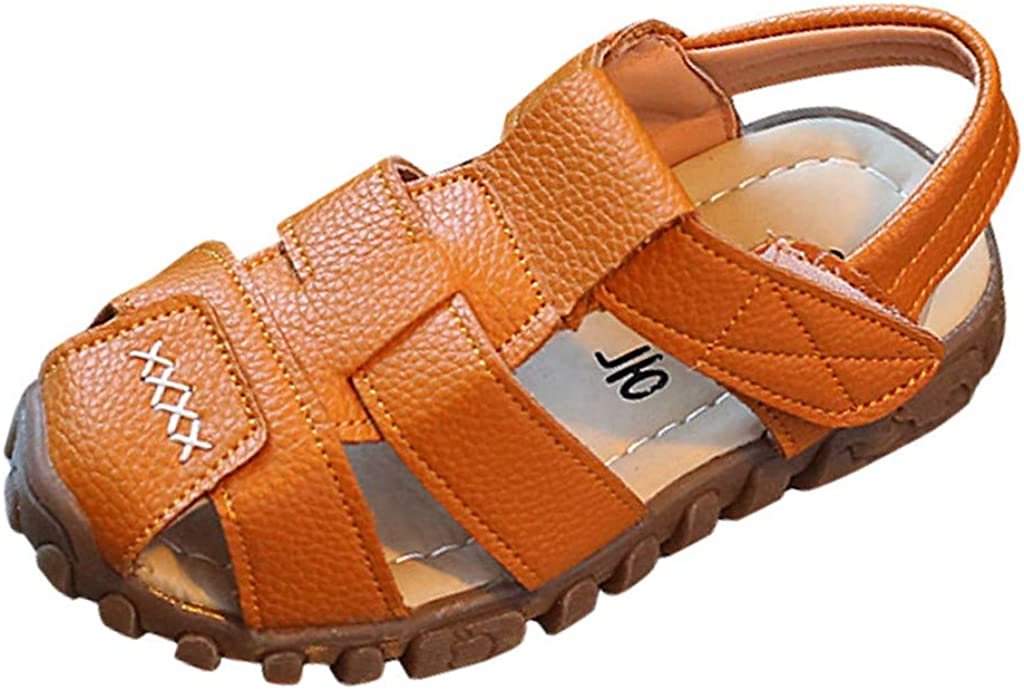 Sandalias niña niño Verano Riou con Punta Cerrada Zapatos en Cuero Zapatillas Velcro Zapatillas de Deporte Al Aire Libre Antideslizante Bebe Chicos Chicas Zapatos Calzado 21-25
