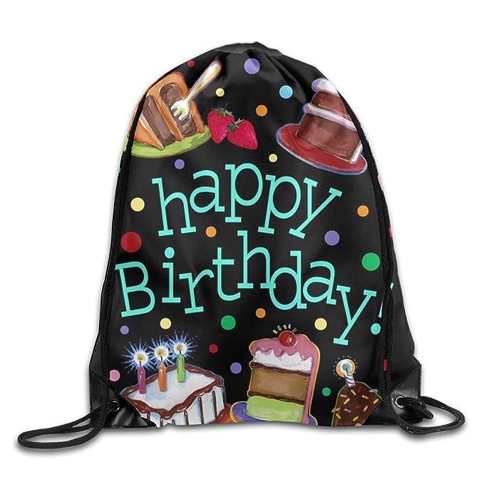 Amazon Happy Birthday Cake Drawstring Bags Portable Backpack