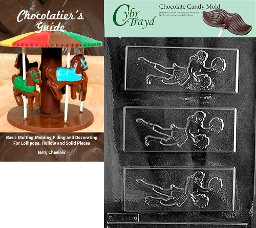 (Cybrtrayd Cheer Leader Bar Sports Chocolate Candy Mold with Chocolatier's Guide Instructions Book Manual)