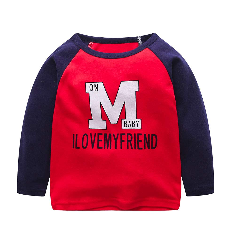 Beikoard 50% Only Toddler Infant Kids Baby Boys Girls Cartoon Letter Tops T-Shirt Outfits Clothes Material:Cotton Blend