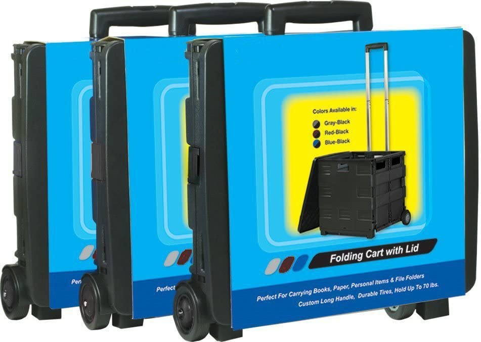 Unique Imports Premium Heavy Duty Mobile Folding Office Cart with Lid Basket – Collapsible