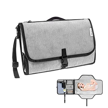 Portable Baby Diaper Changing Mat Pad Detachable Design with Extra Mesh Pouch Zipper Pouch Grey